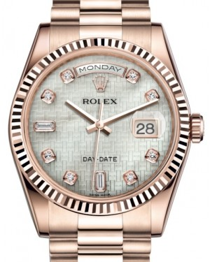 Rolex Day-Date 36 Rose Gold White Mother of Pearl with Oxford Motif Diamond Dial & Fluted Bezel President Bracelet 118235 - BRAND NEW