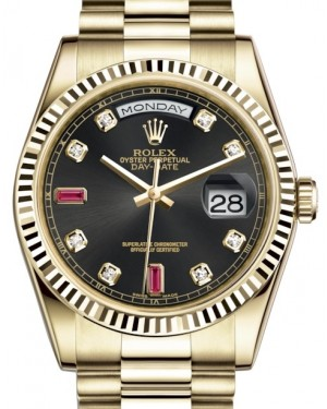 Rolex Day-Date 36 Yellow Gold Black Diamond & Rubies Dial & Fluted Bezel President Bracelet 118238 - BRAND NEW