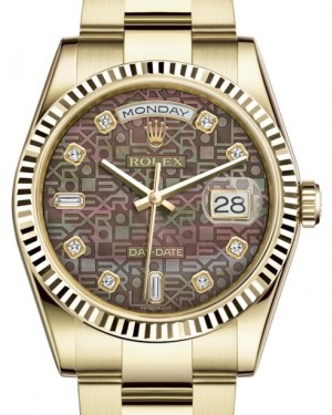 Rolex Day-Date 36 Yellow Gold Black Mother of Pearl Jubilee Diamond Dial & Fluted Bezel Oyster Bracelet 118238 - BRAND NEW