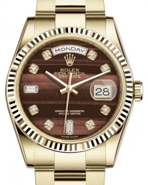 Rolex Day-Date 36 Yellow Gold Bull's Eye Diamond Dial & Fluted Bezel Oyster Bracelet 118238 - BRAND NEW