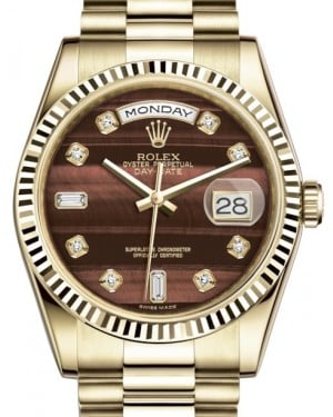 Rolex Day-Date 36 Yellow Gold Bull's Eye Diamond Dial & Fluted Bezel President Bracelet 118238 - BRAND NEW