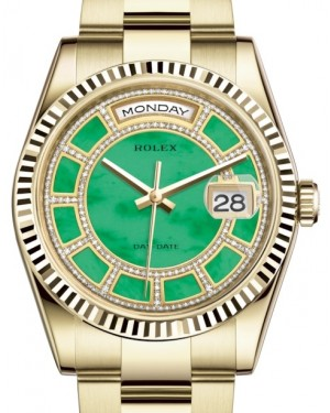 Rolex Day-Date 36 Yellow Gold Carousel of Green Jade Diamond Dial & Fluted Bezel Oyster Bracelet 118238 - BRAND NEW