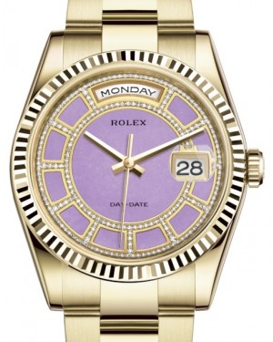 Rolex Day-Date 36 Yellow Gold Carousel of Lavender Jade Diamond Dial & Fluted Bezel Oyster Bracelet 118238 - BRAND NEW