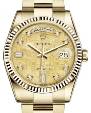 Rolex Day-Date 36 Yellow Gold Champagne Mother of Pearl Jubilee Diamond Dial & Fluted Bezel Oyster Bracelet 118238 - BRAND NEW
