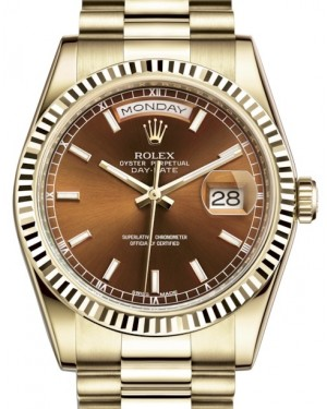Rolex Day-Date 36 Yellow Gold Cognac Brown Index Dial & Fluted Bezel President Bracelet 118238 - BRAND NEW