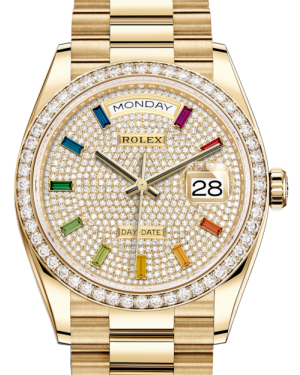 Rolex Day-Date 36 Yellow Gold Diamond Paved Rainbow Colored Sapphires Dial & Diamond Bezel President Bracelet 128348RBR - BRAND NEW