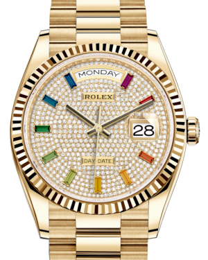Rolex Day-Date 36 Yellow Gold Diamond Paved Rainbow Colored Sapphires Dial & Fluted Bezel President Bracelet 128238 - BRAND NEW