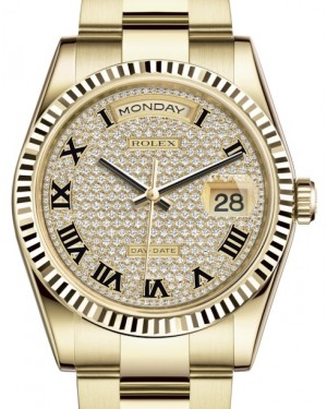 Rolex Day-Date 36 Yellow Gold Diamond Paved Roman Dial & Fluted Bezel Oyster Bracelet 118238 - BRAND NEW