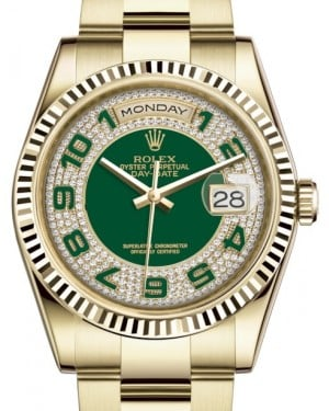 Rolex Day-Date 36 Yellow Gold Green Diamond Paved Arabic Dial & Fluted Bezel Oyster Bracelet 118238 - BRAND NEW