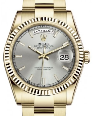 Rolex Day-Date 36 Yellow Gold Silver Index Dial & Fluted Bezel Oyster Bracelet 118238 - BRAND NEW