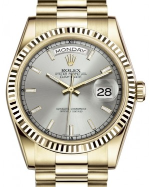 Rolex Day-Date 36 Yellow Gold Silver Index Dial & Fluted Bezel President Bracelet 118238 - BRAND NEW
