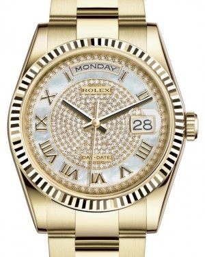 Rolex Day-Date 36 Yellow Gold White Mother of Pearl Diamond Paved Roman Dial & Fluted Bezel Oyster Bracelet 118238 - BRAND NEW