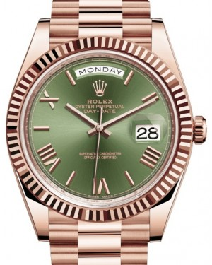 Rolex Day-Date 40 Rose Gold Olive Green Roman Dial & Fluted Bezel President Bracelet 228235 - BRAND NEW