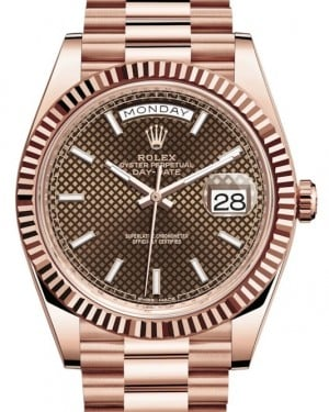 Rolex Day-Date 40 Rose Gold Chocolate Diagnonal Motif Index Dial & Fluted Bezel President Bracelet 228235 - BRAND NEW