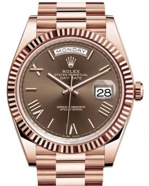 Rolex Day-Date 40 Rose Gold Chocolate Roman Dial & Fluted Bezel President Bracelet 228235 - BRAND NEW