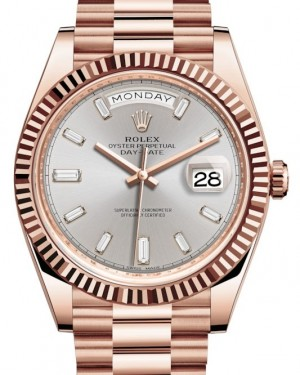 Rolex Day-Date 40 Rose Gold Sundust Diamond Dial & Fluted Bezel President Bracelet 228235 - BRAND NEW