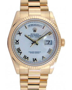 Rolex Day-Date President 118238 Men's 36mm White Roman Solid 18k Yellow Gold - PRE-OWNED