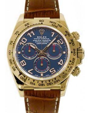 Rolex Daytona 116518-BLU Navy Blue Arabic 18k Yellow Gold Brown Leather BRAND NEW