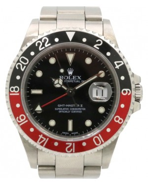 "Rolex GMT-Master II Stainless Steel 40mm ""Coke"" Black Red Stainless Steel Oyster Date Holes 16710 - PRE - OWNED"
