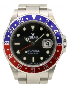 "Rolex GMT-Master II Stainless Steel 40mm Red/Blue ""Pepsi"" Aluminum Bezel SEL Oyster Bracelet Holes Case 16710 - PRE-OWNED 2000-03"