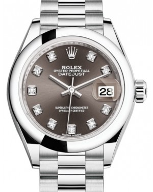 Rolex Lady Datejust 28 Platinum Dark Grey Diamond Dial & Smooth Domed Bezel President Bracelet 279166 - BRAND NEW
