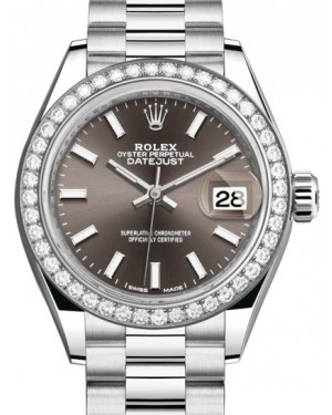 Rolex Lady Datejust 28 Platinum Dark Grey Index Dial & Smooth Domed Bezel President Bracelet 279136RBR - BRAND NEW