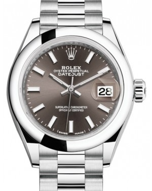 Rolex Lady Datejust 28 Platinum Dark Grey Index Dial & Smooth Domed Bezel President Bracelet 279166 - BRAND NEW