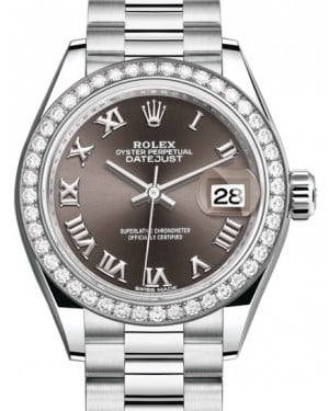 Rolex Lady Datejust 28 Platinum Dark Grey Roman Dial & Smooth Domed Bezel President Bracelet 279136RBR - BRAND NEW