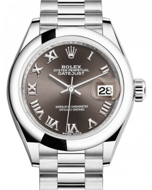 Rolex Lady Datejust 28 Platinum Dark Grey Roman Dial & Smooth Domed Bezel President Bracelet 279166 - BRAND NEW