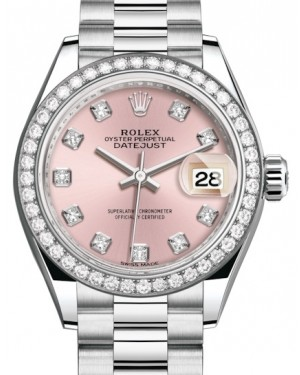 Rolex Lady Datejust 28 Platinum Pink Diamond Dial & Smooth Domed Bezel President Bracelet 279136RBR - BRAND NEW
