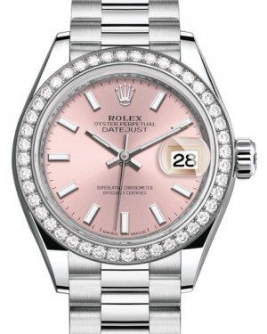 Rolex Lady Datejust 28 Platinum Pink Index Dial & Smooth Domed Bezel President Bracelet 279136RBR - BRAND NEW