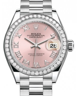 Rolex Lady Datejust 28 Platinum Pink Roman Dial & Smooth Domed Bezel President Bracelet 279136RBR - BRAND NEW