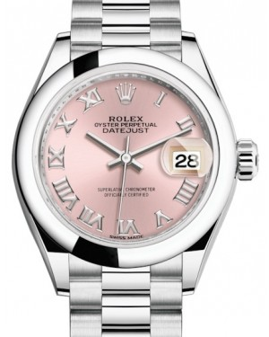 Rolex Lady Datejust 28 Platinum Pink Roman Dial & Smooth Domed Bezel President Bracelet 279166 - BRAND NEW