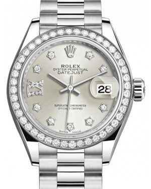 Rolex Lady Datejust 28 Platinum Silver Diamond IX Dial & Smooth Domed Bezel President Bracelet 279136RBR - BRAND NEW