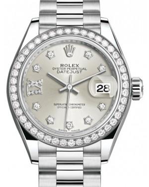 Rolex Lady Datejust 28 Platinum Silver Diamond IX Dial & Smooth Domed Bezel President Bracelet 279136RBR - BRAND NEW