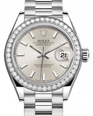 Rolex Lady Datejust 28 Platinum Silver Index Dial & Smooth Domed Bezel President Bracelet 279136RBR - BRAND NEW