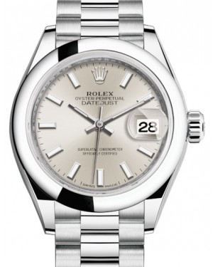 Rolex Lady Datejust 28 Platinum Silver Index Dial & Smooth Domed Bezel President Bracelet 279166 - BRAND NEW