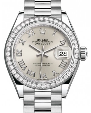 Rolex Lady Datejust 28 Platinum Silver Roman Dial & Smooth Domed Bezel President Bracelet 279136RBR - BRAND NEW