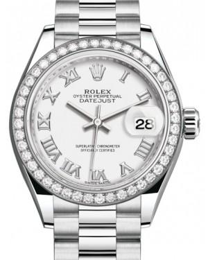 Rolex Lady Datejust 28 Platinum White Roman Dial & Smooth Domed Bezel President Bracelet 279136RBR - BRAND NEW