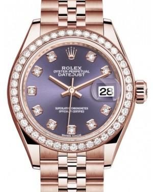 Rolex Lady Datejust 28 Rose Gold Aubergine Diamond Dial & Diamond Bezel Jubilee Bracelet 279135RBR - BRAND NEW
