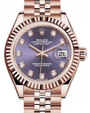 Rolex Lady Datejust 28 Rose Gold Aubergine Diamond Dial & Fluted Bezel Jubilee Bracelet 279175 - BRAND NEW
