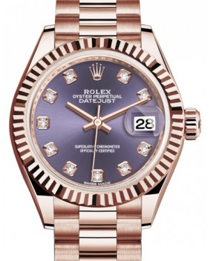 Rolex Lady Datejust 28 Rose Gold Aubergine Diamond Dial & Fluted Bezel President Bracelet 279175 - BRAND NEW