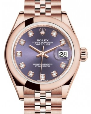 Rolex Lady Datejust 28 Rose Gold Aubergine Diamond Dial & Smooth Domed Bezel Jubilee Bracelet 279165 - BRAND NEW