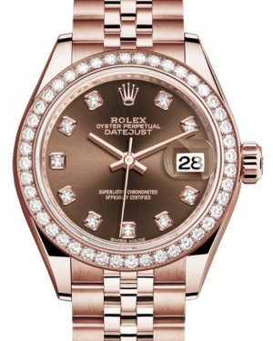 Rolex Lady Datejust 28 Rose Gold Chocolate Diamond Dial & Diamond Bezel Jubilee Bracelet 279135RBR - BRAND NEW