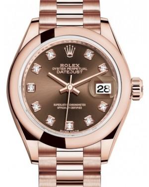 Rolex Lady Datejust 28 Rose Gold Chocolate Diamond Dial & Smooth Domed Bezel President Bracelet 279165 - BRAND NEW