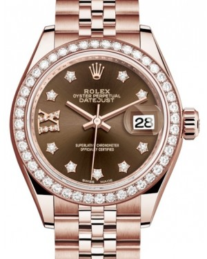 Rolex Lady Datejust 28 Rose Gold Chocolate Diamond IX Dial & Diamond Bezel Jubilee Bracelet 279135RBR - BRAND NEW