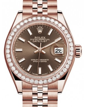 Rolex Lady Datejust 28 Rose Gold Chocolate Index Dial & Diamond Bezel Jubilee Bracelet 279135RBR - BRAND NEW