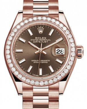 Rolex Lady Datejust 28 Rose Gold Chocolate Index Dial & Diamond Bezel President Bracelet 279135RBR - BRAND NEW
