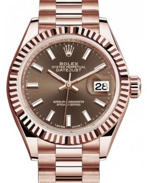 Rolex Lady Datejust 28 Rose Gold Chocolate Index Dial & Fluted Bezel President Bracelet 279175 - BRAND NEW
