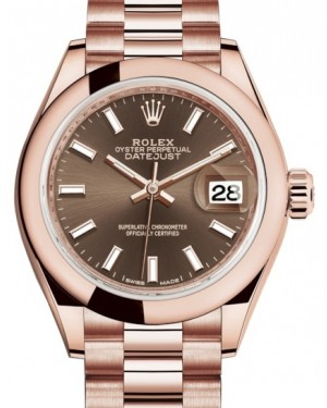 Rolex Lady Datejust 28 Rose Gold Chocolate Index Dial & Smooth Domed Bezel President Bracelet 279165 - BRAND NEW